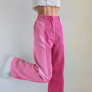 BrickBlack - 灯芯绒拼接宽腿裤