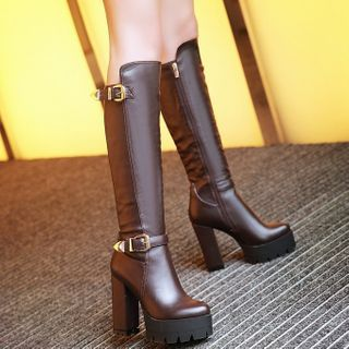Aegina - Faux Leather Chunky-Heel Platform Tall Boots
