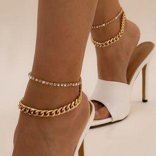 Proscenium - Set of 2: Rhinestone / Chunky Chain Alloy Anklet