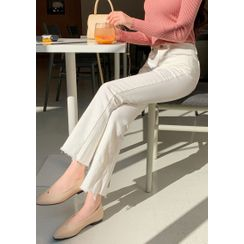 chuu - Cut-Hem Boot-Cut Pants