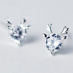 A'ROCH - 925 Sterling Silver Rhinestone Deer Earrings