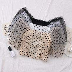 Babique - Cropped Boatneck Dotted Mesh Top