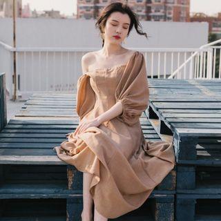 Nebbia - Balloon-Sleeve A-Line Midi Dress