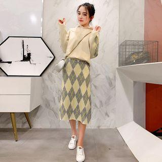 Ami's Court - Set: Argyle Print Knit Hoodie + Midi A-Line Knit Skirt