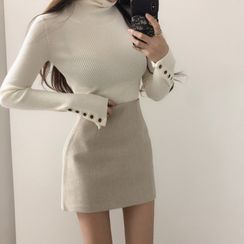 Meatacci - Long-Sleeve Turtle-Knit Top / Mini Fitted Skirt