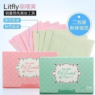 Litfly - あぶらとり紙(緑茶)+あぶらとり紙(オリジナルピンク)(100枚+ 100枚)