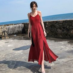 12th Tone - Spaghetti Strap Maxi Open-Back Sundress