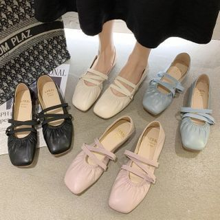 Belbie - Square-Toe Shirred Mary Jane Flats