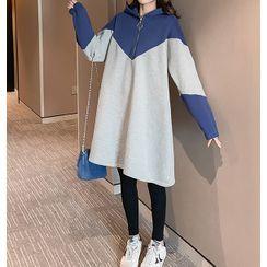 Empressa - Maternity Color Block Mini Hoodie Dress