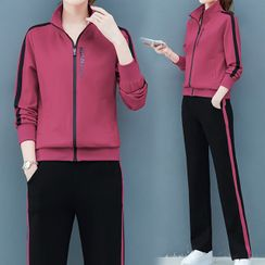 belle epoque - 套装: 条纹拉链外套 + 运动裤