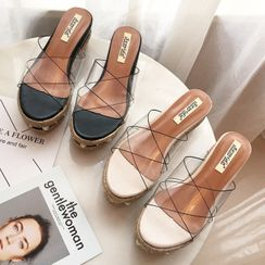 KICKOFF - Transparent Platform Wedge Slide Sandals