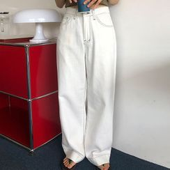 icecream12 - Stitched Wide-Leg Cotton Pants
