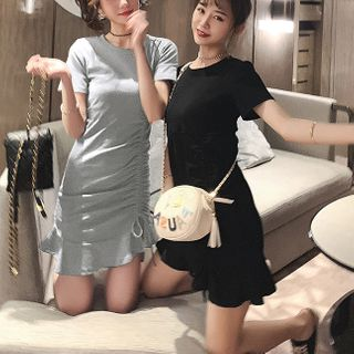 Tiny Times - Short-Sleeve Mini Bodycon Dress