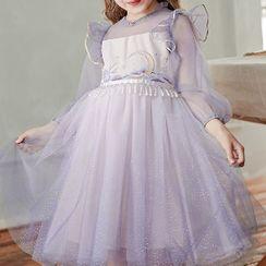 Boyamite - Kids Long-Sleeve Embroidered Mesh Prom Dress