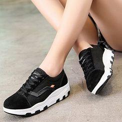 MINIKA - 帆布拼接厚底休閒鞋