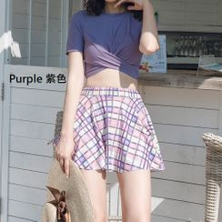ASUMM - Set: Short-Sleeve Twisted Swim Top + Plaid Swim Skirt