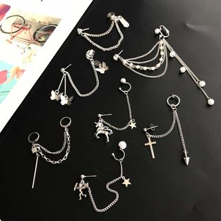 Mimishi - Alloy Chained Earring (various designs)