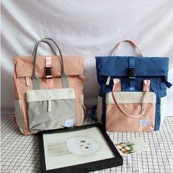Bags 'n Sacks - Color Block Roll-Top Nylon Backpack