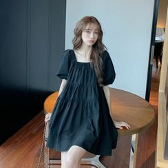 Dshe - Square-Neck Puff-Sleeve Mini A-Line Dress