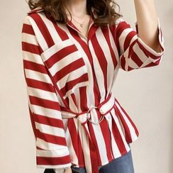 Onnell - Striped Tie-Waist Blouse / Camisole Top