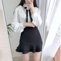 Tangihouse - Plain Ruffle Hem Mini Pencil Skirt