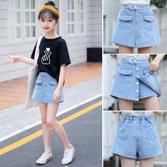 Qin Qin - Kids Printed Short-Sleeve T-Shirt / Denim Mini A-Line Skort