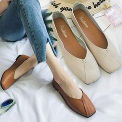 Shoeland - Zapatos planos de punta cuadrada de piel sintética