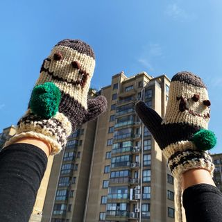 Hats 'n' Tales - Embroidered Smiley  Mittens
