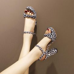 JY Shoes - Leopard Print High-Heel Platform Sandals