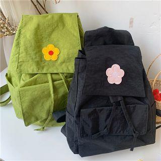 Olsin - Flower Applique Nylon Backpack