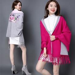 Pecora - Embroidered Fringe Knit Jacket