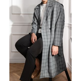 STYLEMAN - Double-Breasted Oversized Plaid Coat
