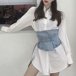Yilda - Set: Oversized Shirt + Denim Corset