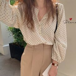 Minimince - Long-Sleeve Dotted Blouse / Camisole Top