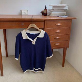 CHERRYKOKO - Contrast-Trim Knit Polo Shirt