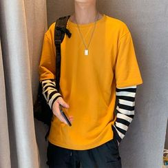Naideth - Mock Two Piece Long-Sleeve T-shirt