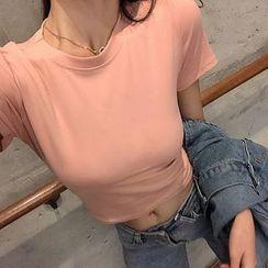 Carmenta - 纯色短袖短款T裇