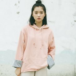 Miahynn - Striped Panel Hoodie