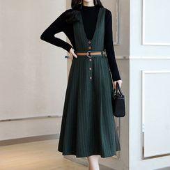 Romantica - 套装: 长袖罗纹上衣 + 条纹背带连衣长裙