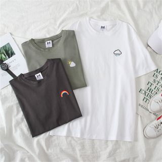 AQUI - Embroidered Short-Sleeve T-Shirt