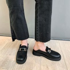 JY Shoes - Faux Suede Panel Platform Loafers