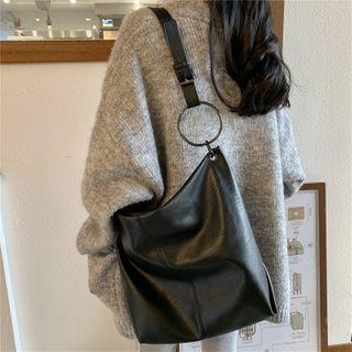 Minafox - Plain Faux Leather Crossbody Tote Bag
