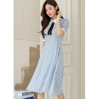 Styleonme - Chiffon-Sleeve Midi Stripe Dress with Brooch