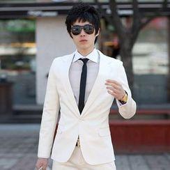 Tsuka - Set: Slim-Fit Plain Blazer + Dress Pants