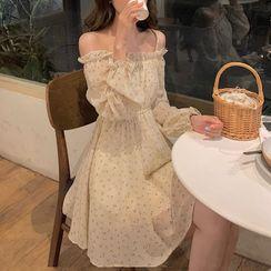 Pachelbel - Floral Print Cold-Shoulder A-Line Chiffon Dress
