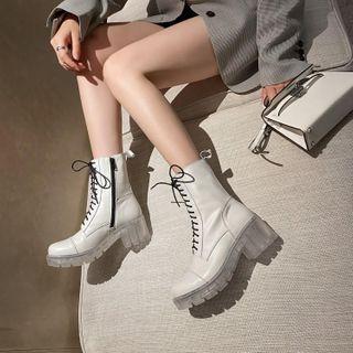幸福鞋坊 - 粗跟厚底短筒靴