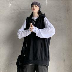 Giuliana - Long-Sleeve Plain T-Shirt / Hooded Vest