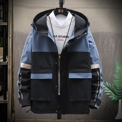 Trimalchio - Color Block Hooded Zip Jacket