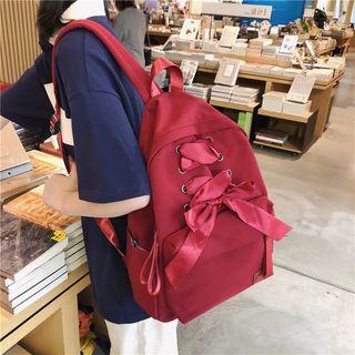 Kaffee - Ribbon Lace-Up Nylon Backpack