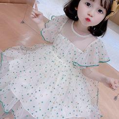 Ohori - Kids Dotted Ruffled Short-Sleeve A-Line Mesh Dress
